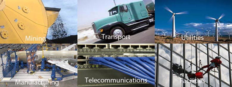 Image of six different industries including mining, shipping, telecommunications, coal and rail